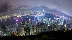Tmelapse video of Hong Kong at night, fisheye view, zooming in Stock Footage