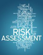 word cloud risk assessment - stock illustration