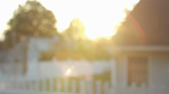 Sunset in neighborhood backyard Stock Footage