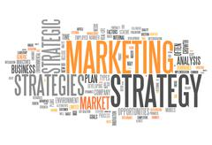 word cloud marketing strategy - stock illustration