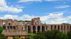 Rome, Italy, Circo Massimo and ruins of Roman Forum, time-lapse. Stock Footage