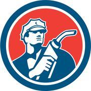 Gasoline attendant fuel pump nozzle circle retro. Stock Illustration