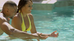 African American Parents Child Home Swimming Pool Stock Footage