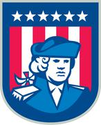 american patriot head bust shield retro - stock illustration
