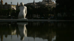 Statue and pool reflection in Plaza Catalunia Barcelona HD Stock Footage