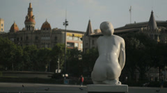 Statue in Plaza Catalunia Barcelona early morning HD Stock Footage