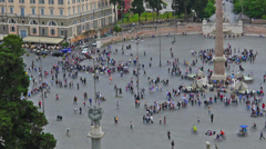 Rome, Italy, Piazza del Popolo, high angle view, time-lapse, zoom out. Stock Footage
