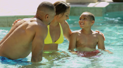Loving Ethnic Family Together Outdoor Swimming Pool Stock Footage