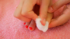 Close-up of Woman Removing Nail Polish from Her Legs. Before Pedicure. Stock Footage