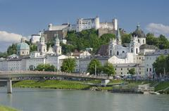 Salzburg City Historic Center And Evangelical Christ Church - stock photo