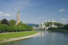 Stock Photo of Salzburg City Historic Center And Evangelical Christ Church