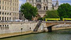 France, Paris, cathedral Notre Dame de Paris and Seine river, time-lapse. Stock Footage