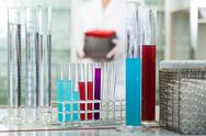 Stock Photo of test tubes in rack wit colorful liquids