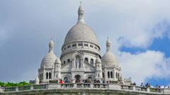 France, Paris, basilica Scare Coeur, Montmartre hill, time-lapse,zoom out. Stock Footage