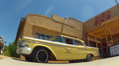 Classic 1950s Taxi Cab On Route 66- Seligman Arizona Stock Footage