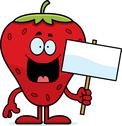 Cartoon strawberry sign Stock Illustration