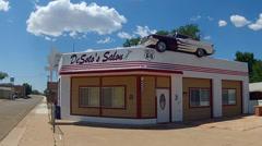 Desotos Salon Barbershop On Route 66- Ash Fork Arizona Stock Footage