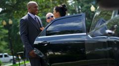 Chauffeur Seating Multi Ethnic Passengers Luxury Limousine - stock footage
