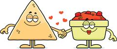 cartoon chips and salsa holding hands - stock illustration