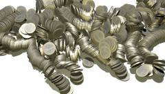 Euro coins multiplying on white surface Stock Footage