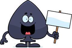 cartoon spade sign - stock illustration