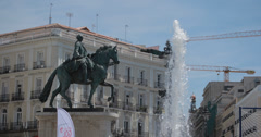 4k Video of the Monument to King Charles III in Puerta Del Sol, Madrid, Spain Stock Footage