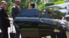 Successful Business People Being Seated Limousine Stock Footage