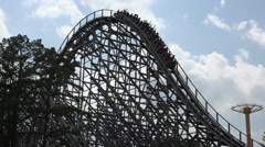 Wood Roller Coasters, Rides, Amusement Parks Stock Footage