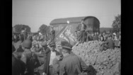 Refugees and Military soldiers with a flag, Plauen, Germany Stock Footage