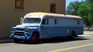 Old School Bus Converted To Camper- Ash Fork Arizona Stock Footage