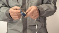 man isolates electrician wire - stock footage