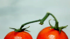 Two Red Ripe Vine Tomatoes under cocktail umbrellas get caught in the rain Stock Footage