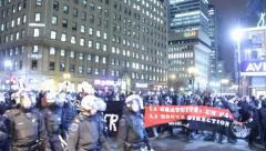 People marching and teasing police Stock Footage