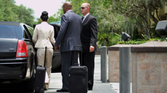 Business Executives Being Met Luxury Transport Stock Footage