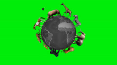 Animals circle the world globe - green screen Stock Footage