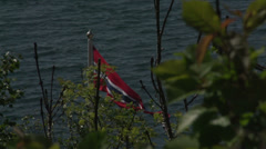 0107Norway lakeview flag followfocus slowmotion Stock Footage