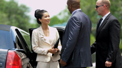 Limousine Chauffeur Meeting Corporate Clients - stock footage