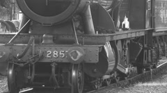 Steam train with sound moving slowly B&W 1920 X 1080 - stock footage