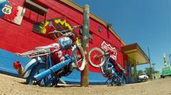 Retro Motorcycle Art Piece Sculpture- Route 66- Seligman AZ Stock Footage