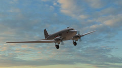 Airplane DC 3 in flight  - close up Stock Footage