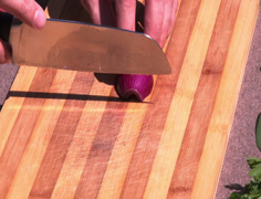 Cutting shallot,red onion Stock Footage