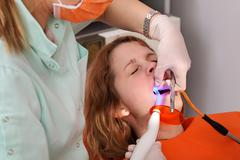 dental procedure, led laser - stock photo