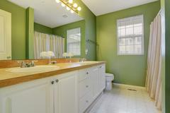 bright green bathroom interior - stock photo