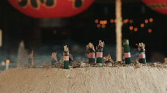 Incense burning at a Japanese temple Stock Footage