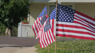 Stock Video Footage of USA Flags in Yard 02 4k
