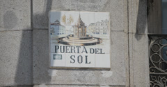 4K Video of a pretty tiled street sign at the Puerta Del Sol in Madrid, Spain Stock Footage