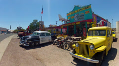 Route 66 Gift Shops And Retro Automobiles- Close- Seligman AZ Stock Footage