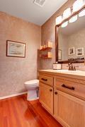 bathroom vanity cabinet with mirror - stock photo