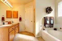 soft tones bathroom interior - stock photo