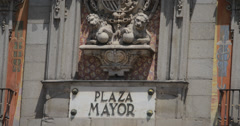 4K Video of the beautiful Plaza Mayor sign at a central plaza in Madrid, Spain Stock Footage
